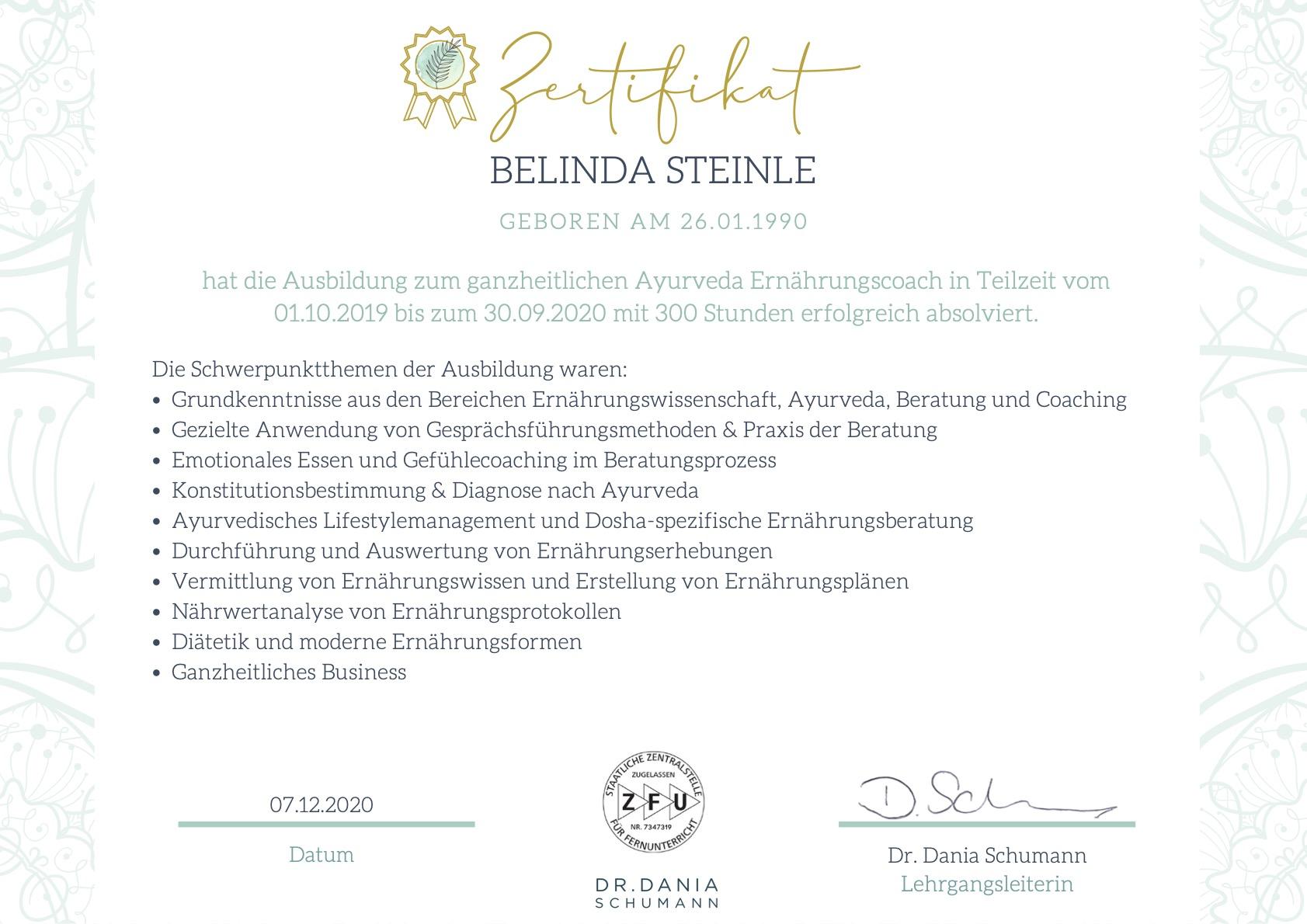 Zertifikat zum ganzheitlichen Ayurveda Ernährungscoach